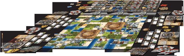Das Spielmaterial des Brettspiels für vier Spieler aufgebaut